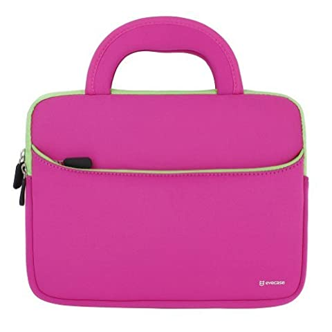 Evecase 8.9 - 10.1 inch Tablet Sleeve Hand Bag, Portable Neoprene Zipper Carrying Case w/ Accessory Pocket for Apple iPad, Samsung, Google, Kids Tablet, eBook, e-Reader - Hot Pink /