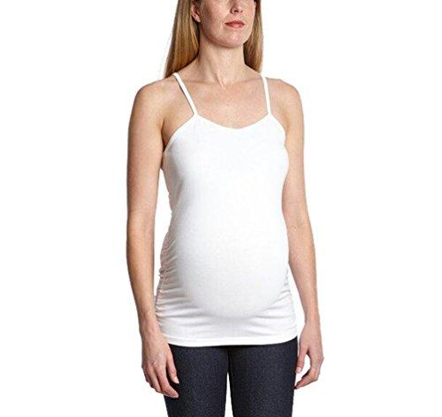 Yuanu Damen Schwangerschaft Still-BH Mutterschaft Tanktops Weste Unterhemden Stillhemdchen Weiß L