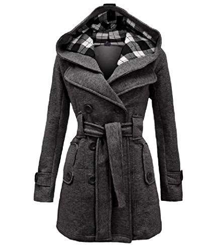 Energy Womens Soft Jacket Mid-Long Plus Size PEA Coat Jacket with Hood Dark Grey L - Plus Size Peacoats