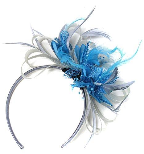 gris-argent-et-bleu-aqua-net-creole-plume-pour-cheveux-serre-tete-mariage-royal-ascot-courses
