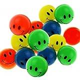 15 Smiley Flummis 27mm Lachgesicht Gummiball Springball