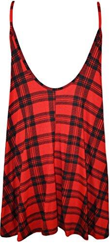 WearAll - Übergröße Bedruckt Ärmellos Riemchen Mini Kleid Vest Top - 11  Mustern - Größen 44