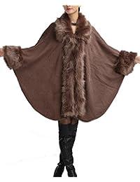 Helan Mujeres Moda Faux Knitting Abrigo Capa del Cabo