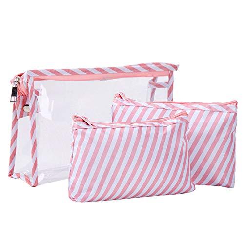 Make-up-Tasche, für Damen, wasserdicht, tragbar, 3 Stück, rosa Streifen (Pink) - UK-bzDkWQ1OgKtGfUdvZSJA -