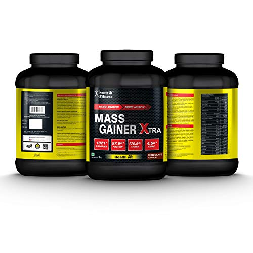 Healthvit Fitness Mass Gainer Xtra with Carbs and Proteins Chocolate Flavour (1KG/2.2lbs)