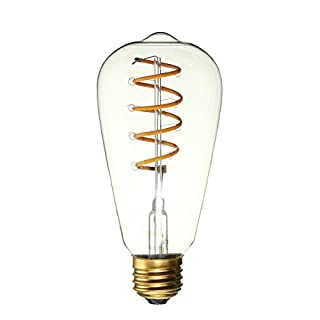 ALK ST64 Glühlampe, E27, 4 W, Antik-Look, LED Lampen, weicher Glühfaden, Edison-Glühbirne, Deko, Vintage-Leuchtmittel für nostalgisches Licht (Spiralen-Modell) [Energieklasse A+]