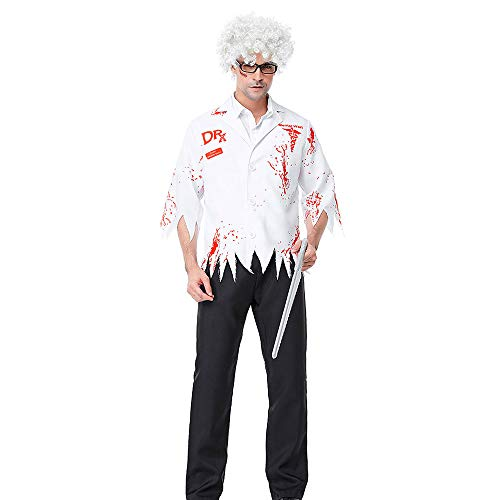Dead Mann Kostüm - WANLN Männer Walking Dead Doktor Zombie Bloody Surgeon Kostüm Karneval Party Adult Male Phantasie Outfits Scary Bone Halloween-Kostüme,OneSize