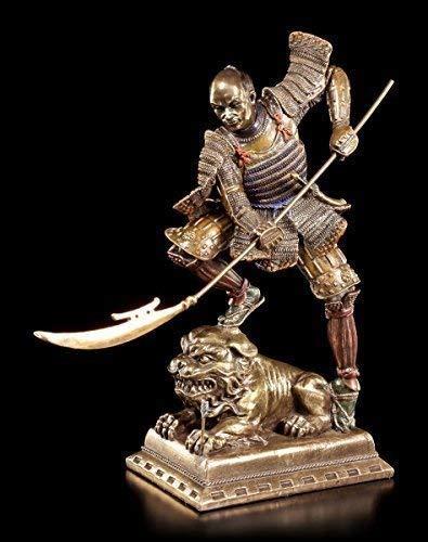 Samurai Krieger Figur mit Naginata | Veronese Statue Bronze-Optik Deko (Krieger-statue-figur)