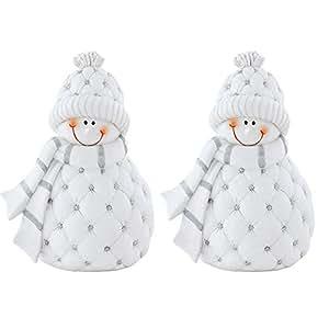 Lot de 2figurines de bonshommes de neige Stand Banc d'hiver fenêtre décoratif Advent Eglo 41207_ 2