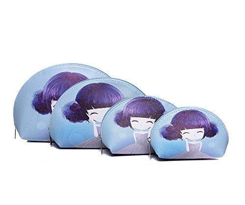Azzaria... Lot de 4 personnage Fille Maquillage Sacs... Bleu... Longueur : 23 cm (Point le plus large) Largeur : 20 cm Hauteur : 16 cm