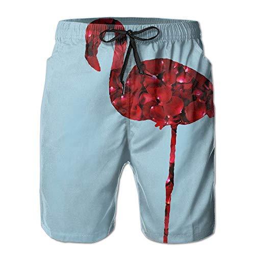 Nicegift Rose Flamingo Flamingo Art Men's Summer Beach Shorts Board Shorts with Pockets S