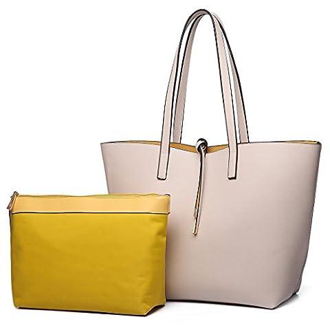 Miss Lulu Women Reversible Tote Bag Faux Leather Shoulder Handbag Large Shopper Set (Beige)