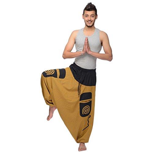 Haremshose Pumphose Aladinhose Pluderhose Yoga Goa Sarouel Baggy Aladin Freizeithose Simandra Herren (Braun, S/M) - Bild 2