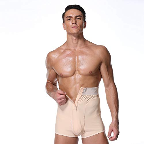 SSYDM Korsett S-6XL Men Padded Butt Lifter Höschen Fitness Taillentrainer Shapewear Steampunk Männer Tummy Trimmer Korsett Man Pad Control Panties - Nylon Spandex Pink Panty Kurz
