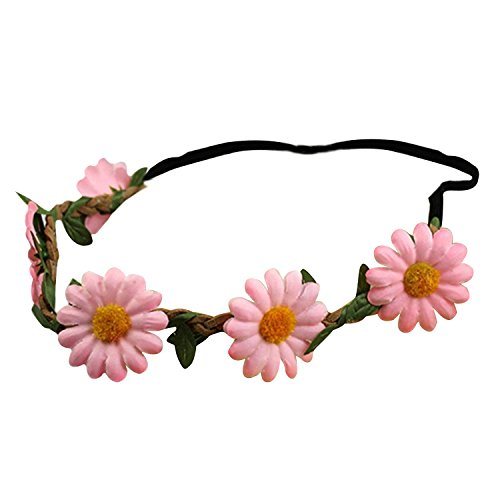Bandeau-SODIAL(R) Femmes Style Boho Floral Fleur Bande de cheveux Bandeau pour Mariage Partie Festival (Rose)