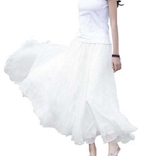 Jaminy Damen Mädchen Röcke, Elastische Taille Chiffon Long Maxi Strandkleid Skater Rock (Weiß)