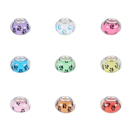 NBEADS 100 Stück Pandora Stil Großes Loch Acryl Charms Perlen Abstandhalter mit Hundetatze druckt Muster passen europäischen Charme Armband