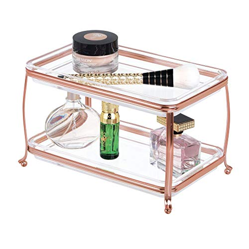 mDesign Traditioneller Kosmetik Organizer auch für Schmuck - edler und rostfreier Make-Up- und Schmuckkasten für jeden Raum - moderner Schminktisch mit 2 Etagen - durchsichtig/rotgoldfarben -