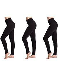 Leggings para Mujer (Paquete de 3) FM® Leggings Negros, Térmicos, Deportivos