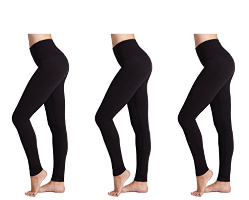 FM London Women's Thermal Brushed Fleece Seamless Leggings(3 Pack), Black, One size(fits M-L-XL)