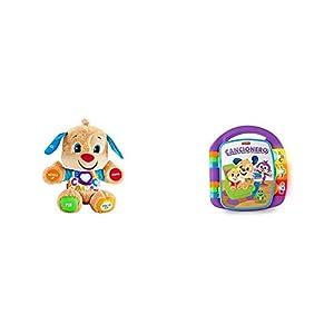 Fisher-Price Perrito Primeros descubrimientos, Juguete bebé +6 Meses (Mattel FPM53) + Libro Interactivo de Aprendizaje, Juguete bebé +6 Meses (Mattel FRC69)