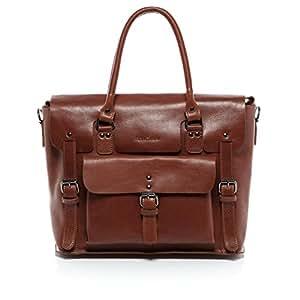 FEYNSINN® sac pour ordinateur portable PHOENIX unisexe - grand cartable messager sac business 15 pouces style Vintage - sac à bandoulière homme et femme châtain clair en cuir véritable