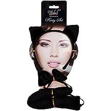 Las orejas del gato Fiesta de disfraces Negro Juego de accesorios de piel falsa de la pajarita de la cola de Halloween