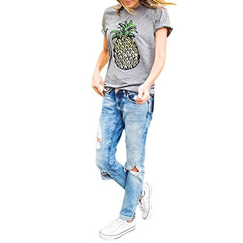 Etosell Femmes Decontractee Ananas Imprime Lache Manches Courtes T-Shirt A1