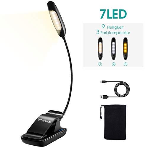 Leselampe Buch Klemme TOPELEK 7 LED Buchlampe, LED Klemmleuchte, 3 Farbtemperatur, 3 Helligkeit, 360° Flexibel, USB Wiederaufladbare LED Leselampe für Büro, Buch, eBook Reader, Bett, Musikstände. (Buch-regal-klammern)