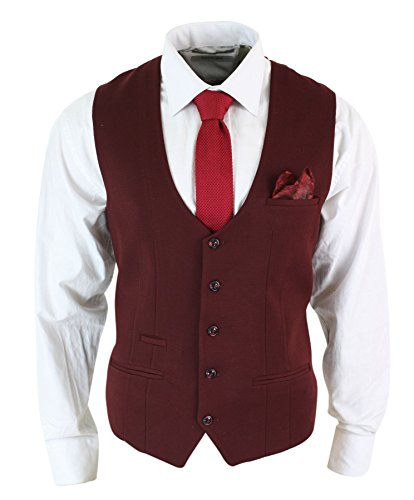 Marc Darcy Gilet Hommes Rouge vin Bordeaux Noir Coupe Slim Rétro Vintage Tweed Chevrons