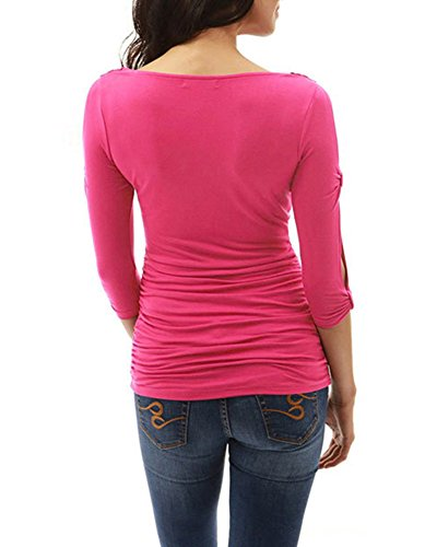 Guiran Femmes Rayures Manches Longues Col Rond Shirts Tops Haut T-Shirt Chemisiers Blouses pink