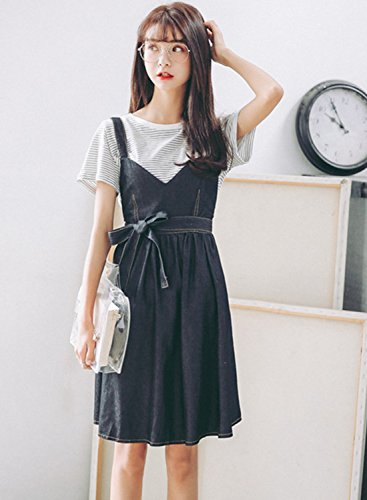 Azbro Women's Fashion Tie Waist Denim Overalls Dress Black