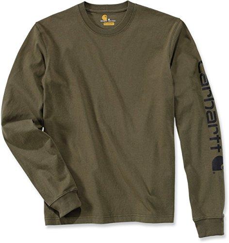Carhartt, EK231.ARG.S005, maglia a maniche lunghe con logo sulla manica, taglia M, verde militare
