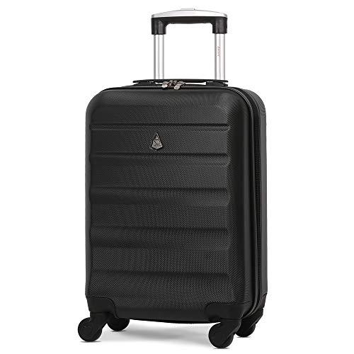 Aerolite ABS Bagage Cabine à Main Valise Rigide Léger 4 roulettes (Noir)