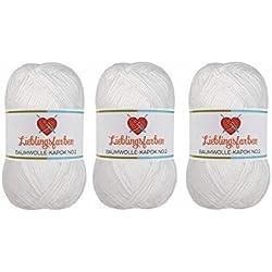 Lieblingsfarben Häkel- und Strickgarn: 100% pflanzliches, besonders leichtes Garn. 15% Kapok, 85% Baumwolle 3Set (Fb.2910 Weiß)