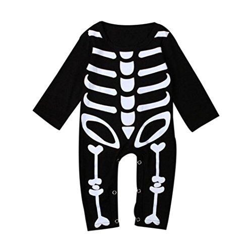 Overdose Säuglings Baby Jungen Mädchen Langarm Knochen Print Romper Kleidung (0-2 Jahre alt) (0-9M, Schwarz) (Karo Flanell-krawatte)