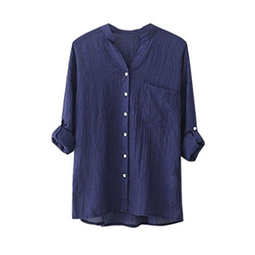 Feixiang® maglietta camicetta a maniche lunghe da donna elegante camicia a maniche lunghe in cotone tops a maniche lunghe casuali camicetta allentata abbottonata (blu, l)