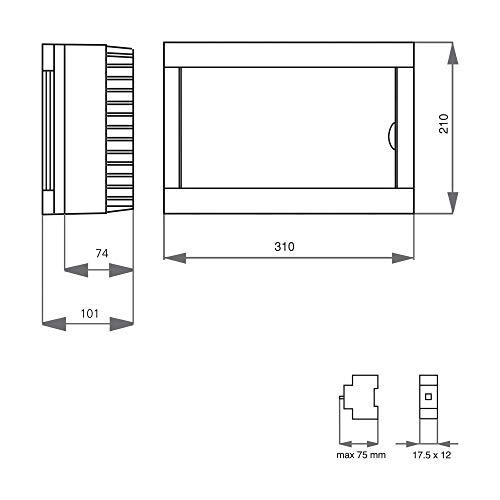 Visto distribuci/ón//copia de seguridad caja//caja de distribuci/ón visto IP40 2,4,6,8,12,16,24,36 m/ódulos PE//N sin 1,2,3-filas con cabezal