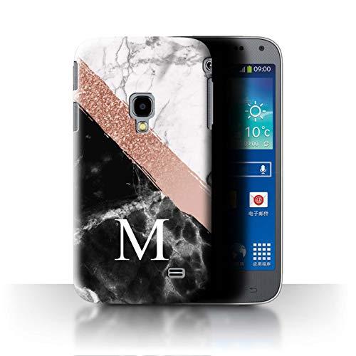 Stuff4® Personalisiert Individuell Roségold Glitter Marmor Hülle für Samsung Galaxy Beam 2/G3858 / Diagonales Monogramm Design/Initiale/Name/Text Schutzhülle/Case/Etui Diagonal Beam