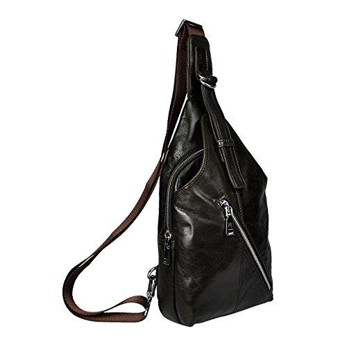 Le'aokuu Herren Echtleder Sportlich Retro Sling Schulter Cross-Body-Tasche Brust Beutel Tasche Umhängetasche 7701 grau