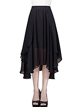 AINIMI Falda Acampanada Irregular Larga De La Gasa Del Verano De Las Mujeres Señora Fashion Casual Más Falda Plisada...