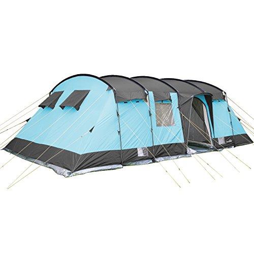 SKANDIKA Hurricane 12 - Tente de Camping familiale Tunnel - 12 Personnes - 700x405 cm (Bleu)
