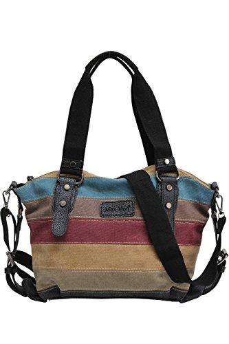 AmbraModa Multi-Color-Striped Canvas Damen Handtasche/Umhängetasche Canvas Tasche Shopper Hobo Bag JX-125 (Schwarz)