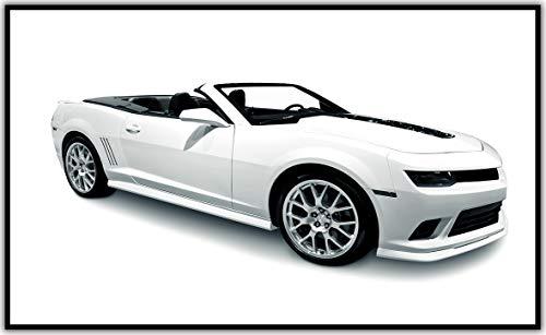 Könighaus Fern Infrarotheizung - Bildheizung in HD Qualität mit TÜV/GS - 200+ Bilder -300Watt - Patentiert - Schwarzer Rahmen(250. Sportwagen Cabrio Weiß) Black Edition - Cabrio Schwarz Rahmen