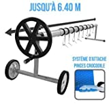 Linxor France Enrouleur de bche à bulles extensible de 1m à 6.40m + Pinces - Norme CE
