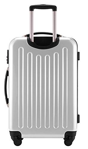 HAUPTSTADTKOFFER® 2er Hartschalen Kofferset · Koffer 87 Liter (63 x 42 x 28 cm) + Koffer 130 Liter (75 x 52 x 32 cm) · Hochglanz · TSA Zahlenschloss · SILBER Weiss