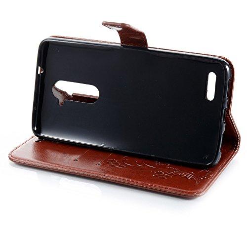 EKINHUI Case Cover Horizontale Folio Flip Stand Muster PU Leder Geldbörse Tasche Tasche mit geprägten Blumen & Lanyard & Card Slots für ZTE Z Max Pro Z981 ( Color : Black ) Brown