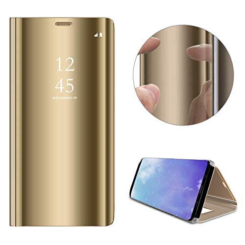 Artfeel Spiegel Hülle für Xiaomi Redmi S2,Xiaomi Redmi S2 Handyhülle Leder Golden Schutzhülle, Mode Slim Hart Flip Stoßfest Schale mit Standfunktion Make Up Spiegel klar Abdeckung - Geprägte Klappe