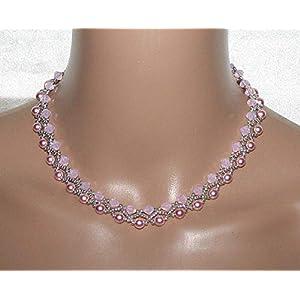 Elegantes Perlencollier Glasperlenkette fliederfarben