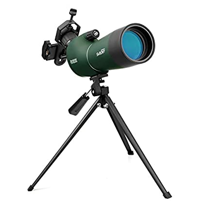 Svbony Zoom Spotting Scope IP65 Waterproof 45 Degree Angled Eyepiece Spotting Scope with Tripod and Cell Phone Adapter for Birdwatching Moon Outdoor and Sporting Activities
